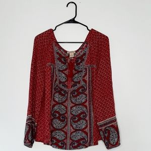 Lucky Brand Boho Long Sleeve Blouse XL